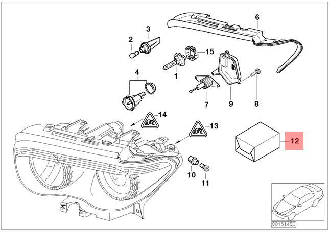 Genuine BMW 7 Series E65 E66 E67 Headlight Left Repair Kit