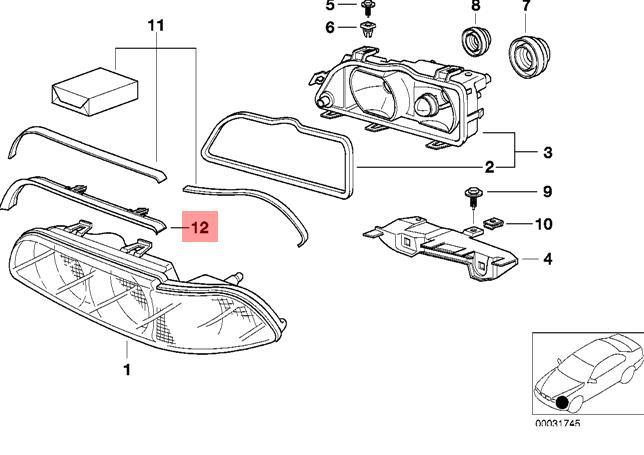 Genuine BMW E39 Sedan Wagon Headlight Gasket Left OEM