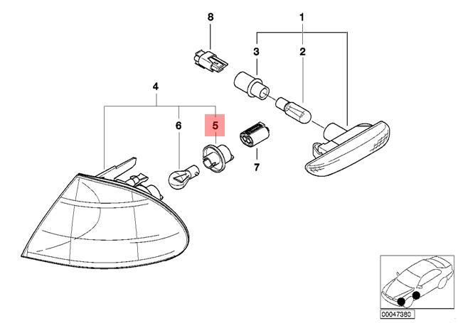 Genuine BMW E46 Cabrio Coupe Sedan Socket For Turn Signal