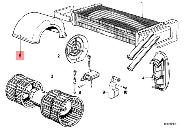 Genuine BMW E28 Sedan Heater Blower Housing OEM