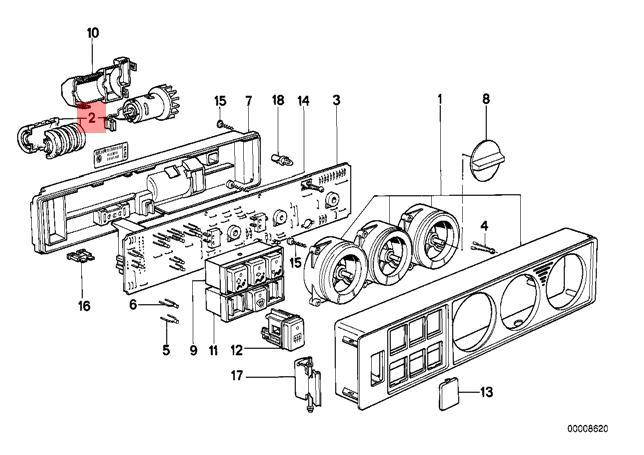 Genuine BMW E31 E32 Interior Temperature Sensor for Blower