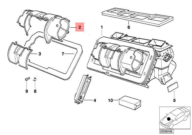 Genuine BMW E34 Estate Saloon Heater Fan Blower Upper