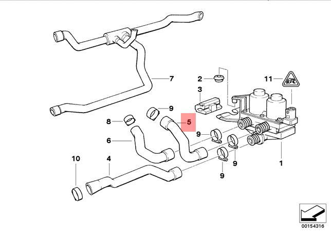 Original BMW E36 Cabrio Coupe Schlauch Wasserventil
