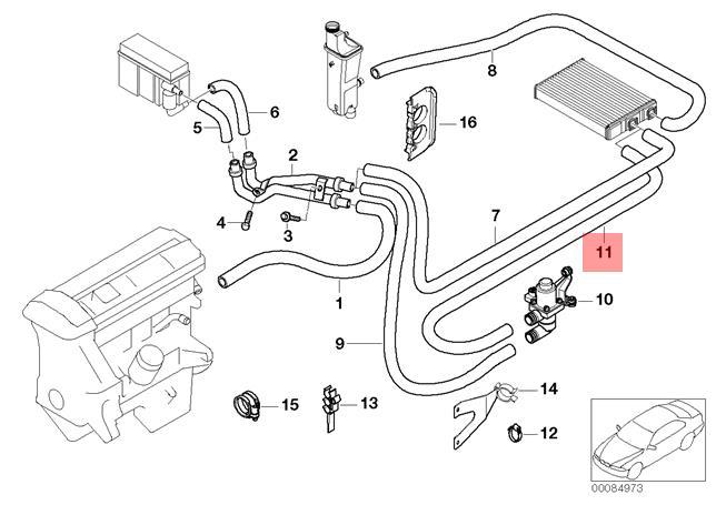 Genuine BMW E46 HOSE For Heater Control Valve And Radiator