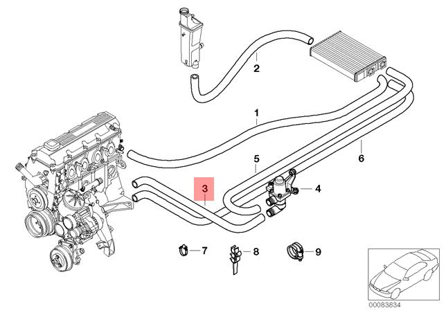 Genuine BMW HOSE For ENGINE INLET And Heater Control Valve