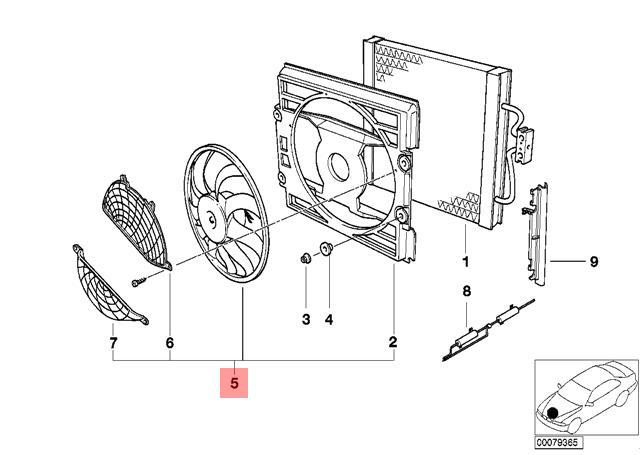 Genuine BMW E39 Estate Saloon Radiator Cooling Fan OEM