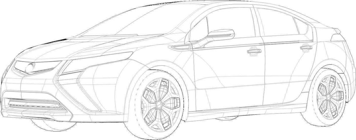 Opel Ampera EV Sketches, and yes, it's a rebadged Chevy