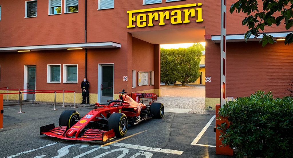 charles leclerc drives his ferrari f1