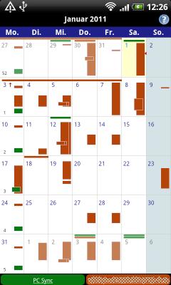 Die Monatsansicht des Business Calendar