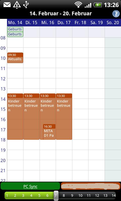 Business Calendar Wochenansicht