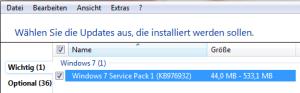 Windows 7 - SP 1 Auswahl