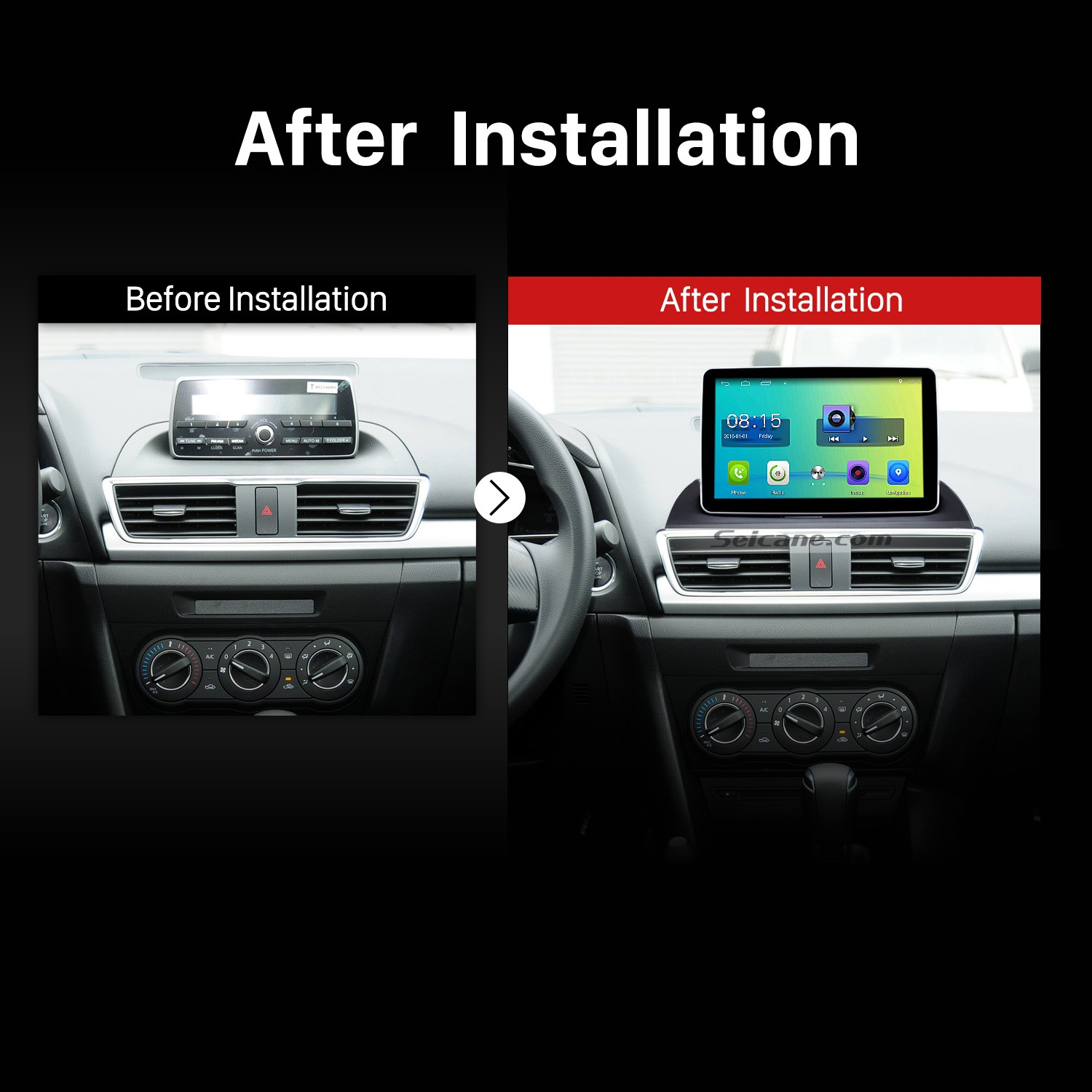hight resolution of 2014 mazda 3 encore low version bluetooth gps car radio after installation