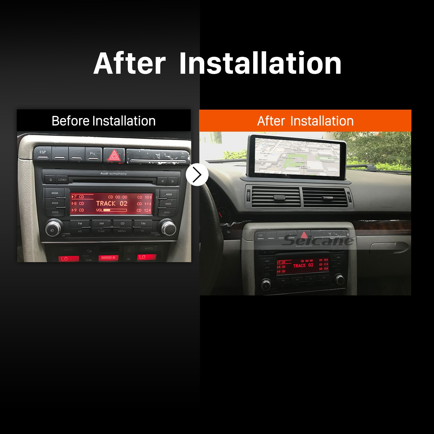 hight resolution of 2004 2005 2006 2007 2008 audi a4 car radio after installation