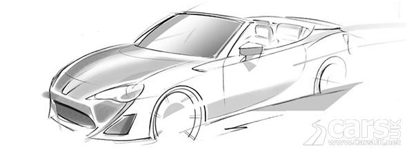 Sketch of FT-86 Open Concept for Geneva, a convertible GT86