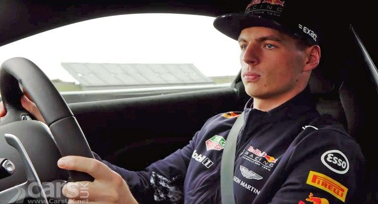 Max Verstappen drives the new Aston Martin Vantage at Rockingham