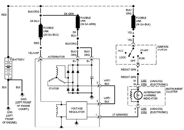 2002 Ford Taurus Charging System Wiring Diagram, 2002