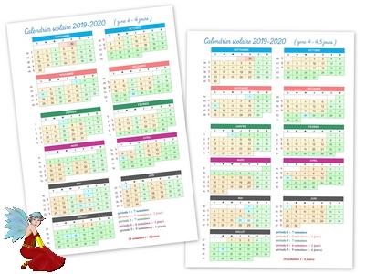 Calendrier scolaire 2019-2020 par période