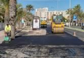 Obras de asfaltado en la Gran Vía de La Manga