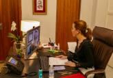 Ana Belén Castejón durante la Mesa Redonda virtual de la UMU sobre Responsabilidad Social Corporativa