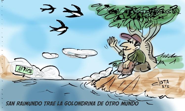 San Raimundo trae la golondrina de otro mundo.