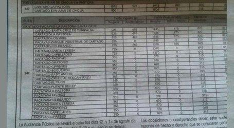 Posible aumento en autobuses de Oreamuno y Cartago genera molestia en usuarios