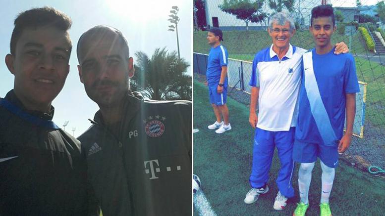 Durante la pasantía, Molina compartió con técnico del Bayern Munich Pep Guardiola (izq), y además en Costa Rica fue escogido por Bora Milutinovic (der). Fotos: Carlos Molina.