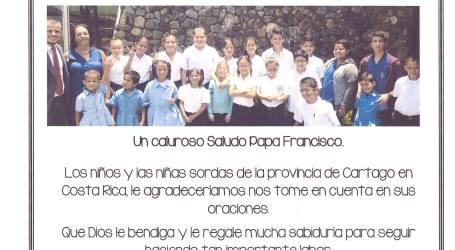 Niños sordos de Cartago enviaron una carta al Papa Francisco