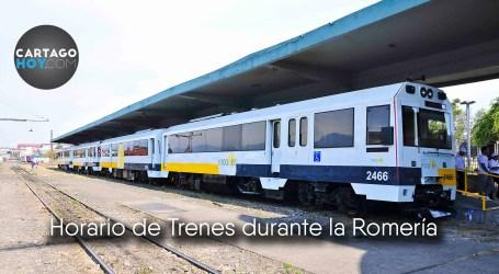 Horario de tren durante el 1 y 2 de agosto