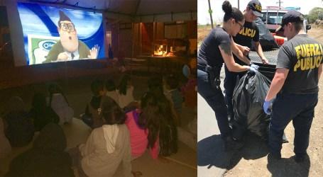 Policías cartagineses convierten basurero en sala de cine