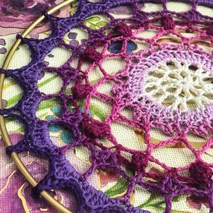 crocheted purple ombre mandala