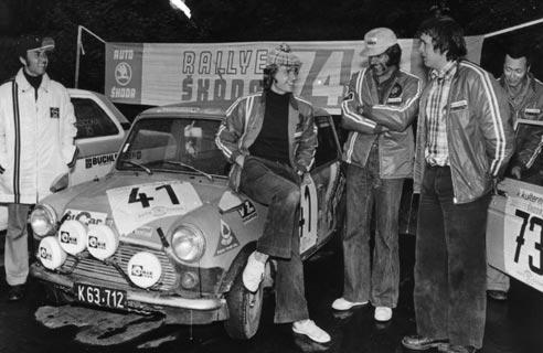 1974 | Das C.A.R. Team bei der internationalen Skodarallye 1974: Buchleitner, Kuncic, Riedl, Kulterer, Figura