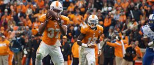Tennessee's Randolph intercepts a pass against Kentucky
