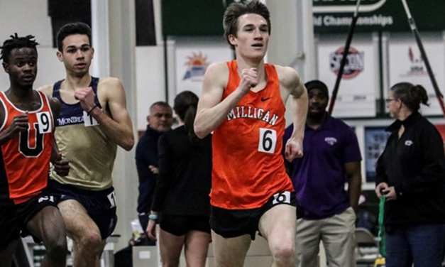 Milligan picks up three titles, 11 All-AAC day one of Indoor T&F championships