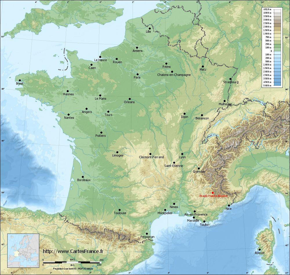 Carte du relief de Prads-Haute-Bléone