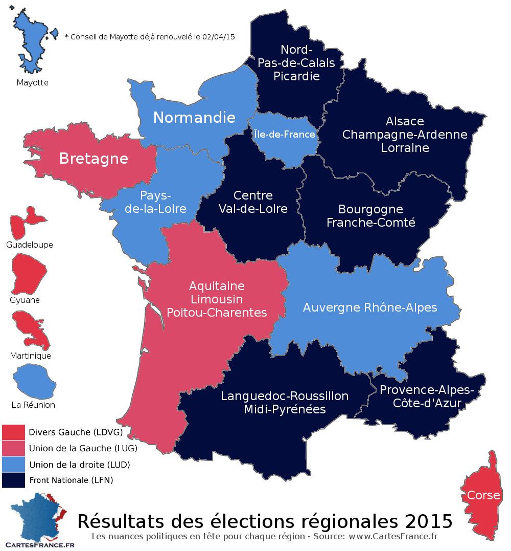 Carte élections régionales 2015 premier tour