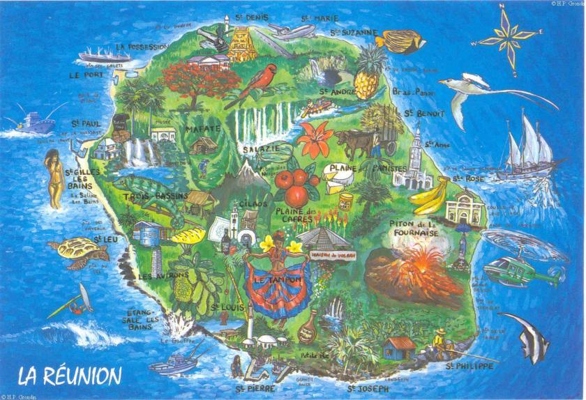 carte La Réunion produit agricole cuisine terroir réunionnais