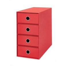 Scatola 4 cassetti ufficio Living rosso