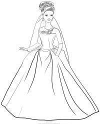 Disegno di Barbie Cenerentola con abito matrimonio da colorare