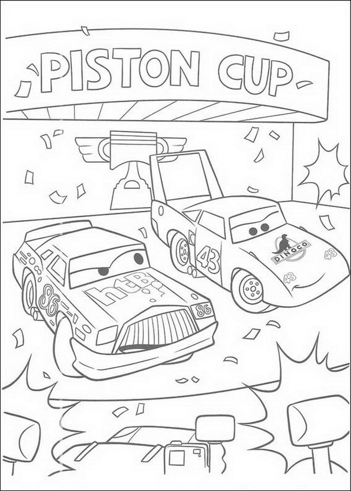 Disegno di Cars con Saetta McQueen e Chick Hicks fra i