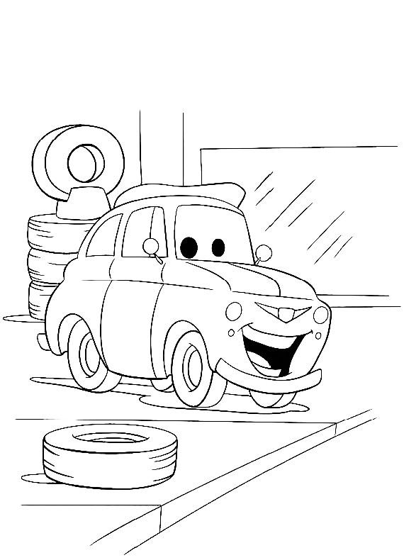 Disegno di Cars con Luigi la fiat 500 da colorare