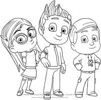 Disegno di Connor, Amaya e Greg dei PJ Masks