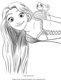 Disegno di Rapunzel con Pascal sulla spalla da colorare