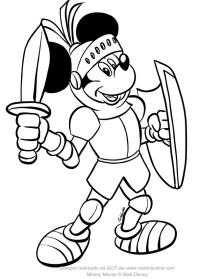 Disegno di Topolino cavaliere medioevale da colorare