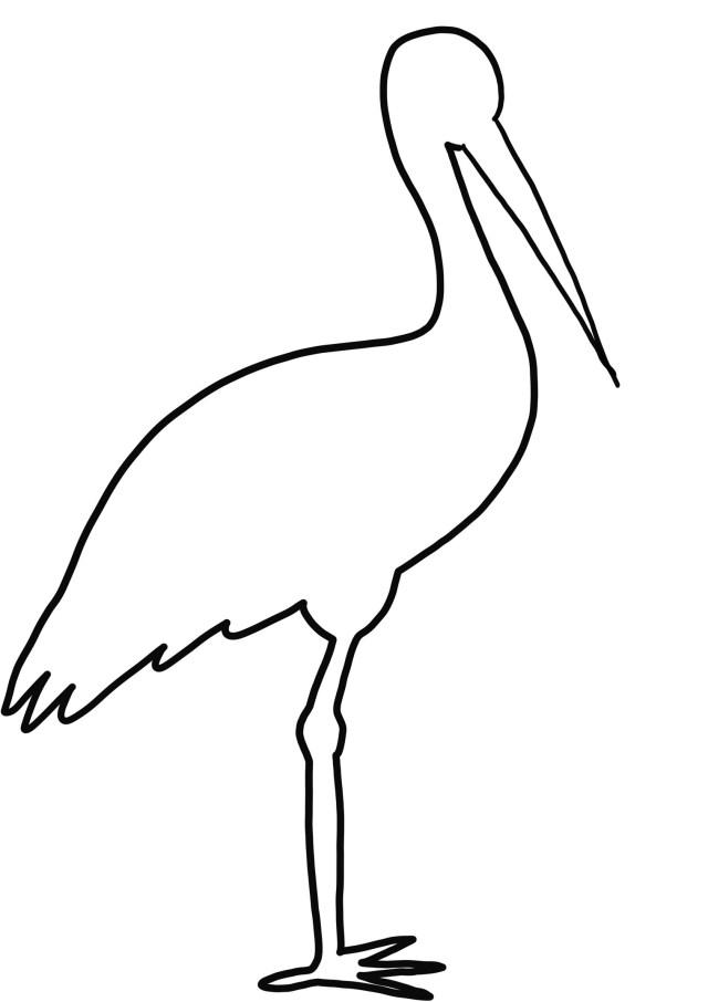Coloriage de silhouette de cigogne