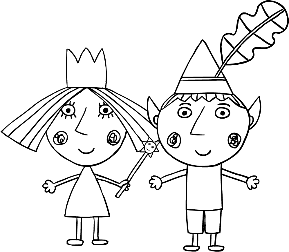 Drawing Ben and Holly coloring page