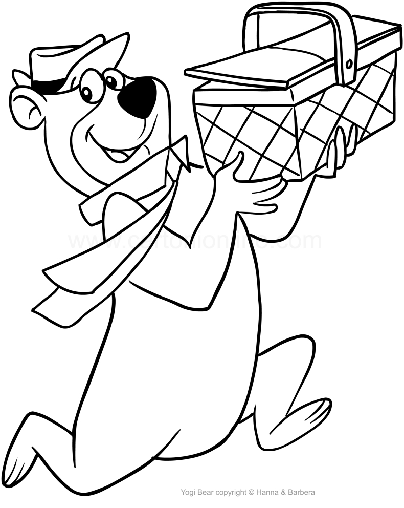 Drawing the Yogi Bear stealing the snack basket coloring page