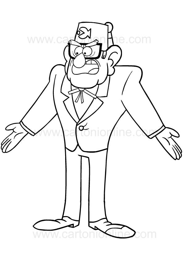 Drawing Of Stan Pines Di Gravity Falls Coloring Page