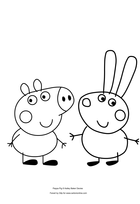 George Pig and Richard Rabbit coloring pages