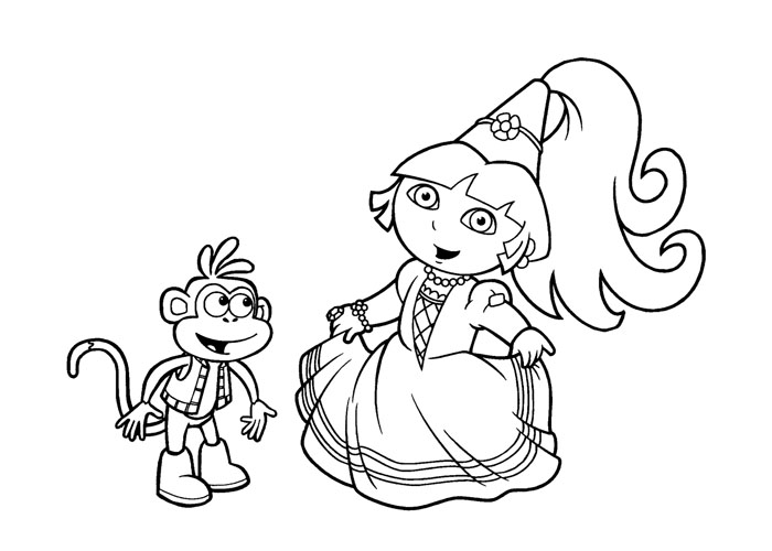 Dora Princess Coloring Pages