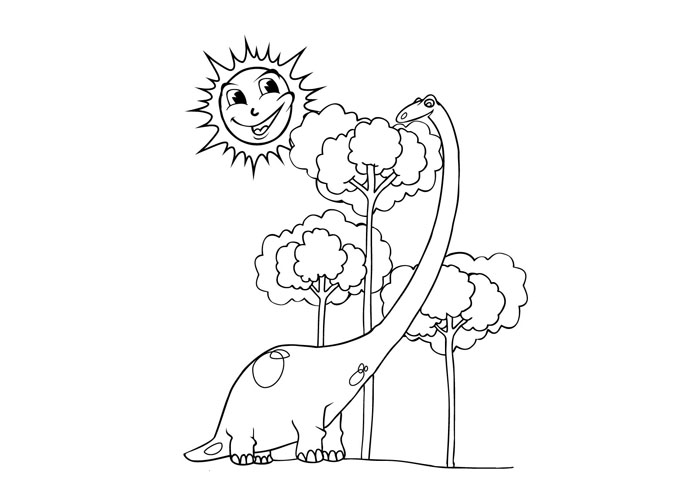 Plant eating dinosaur coloring page